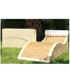 Natural Bamboo And Rattan Chaise Lounge